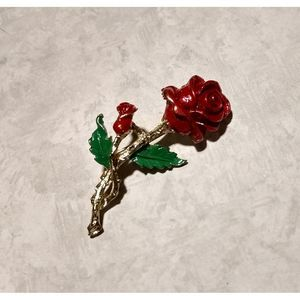 Vintage 3D Rose Pin